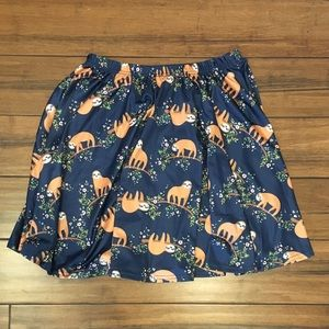 Skirts - Sloth Print Pleated A-Line Skirt Size Large